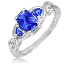 1.2 Carat Blue Sapphire Diamond Accent Cushion and Trillion Shaped Stones Sterling Silver Ring $39.99