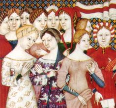 1380 Italy - note hairstyles and beribboned braids