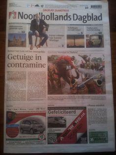 De tabloid van Noordhollands Dagblad, editie Dagblad Zaaanstreek, 13 april 2013. Van, Baseball Cards, Cover, Books, Libros, Book, Vans, Book Illustrations, Libri