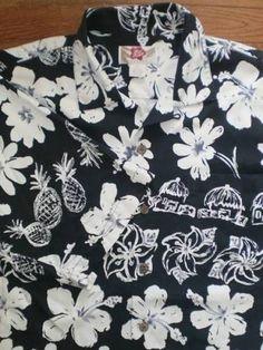 MENS LARGE HILO HATTIE 100% silk HAWAIIAN SHIRT s/s BLACK WHITE floral print EUC