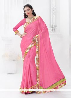 Superb Pink Embroidered Work Chiffon Satin Classic Saree Model: YOSAR7439