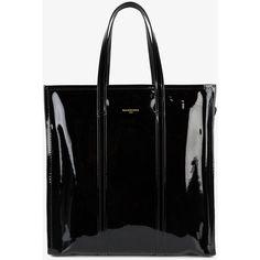 Balenciaga Medium Black Patent Bazar Shopper Bag ($1,775) ❤ liked on Polyvore featuring bags, handbags, tote bags, patent tote, patent tote bag, shopping tote bags, balenciaga tote and shopper purse