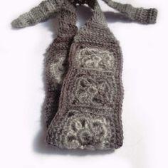 No Slip Crochet Headband, Boho Knit Hairband in Fuzzy Light Gray and Ivory White
