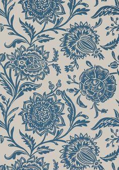 Thibaut wallpaper rivera - blue on flax Unique Wallpaper, Fabric Wallpaper, Wall Wallpaper, Wallpaper Ideas, Textile Prints, Floral Prints, Textile Fabrics, Brewster Wallpaper, Floral Texture