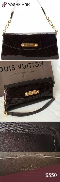 """Louis Vuitton Monogram Vernis Sunset Purse Bag Authentic Gorgeous Louis Vuitton Amarante Monogram Vernis Sunset Boulevard Handbag Purse Clutch. It is small shoulder or wrist handbag clutch with detachable chain strap. Measures: 9.6  x 4.6 x 1.2"""". This purse is so functional and practical that can be use as s shoulder purse for the day, then remove the strap and you have a luxurious clutch for the evening. Very good , gently used condition Louis Vuitton Bags Shoulder Bags"""