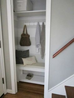 Trendy small coat closet makeover home office Front Hall Closet, Hallway Closet, Ikea Closet, Closet Mudroom, Closet Paint, Closet Nook, Closet Space, Walk In Closet Design, Closet Designs