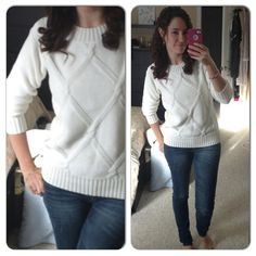 Perfect basic white knit sweater and skinny jeans. #Fashion #Love.