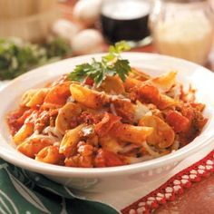 Meaty Pasta Casseroles Recipe -I love this recipe because it makes a lot—two hearty casseroles. Every time I fix it, I add something different, such as extra garlic, to give it a little extra flavor.