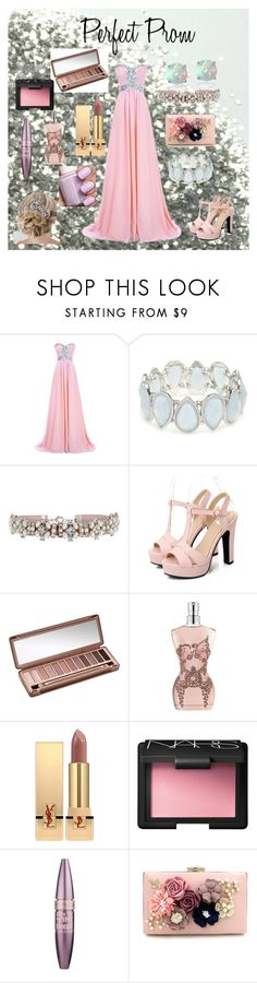 """""""Perfect Prom"""" by missjordanlaceylovesxx on Polyvore featuring Kim Rogers, Accessorize, Urban Decay, Jean-Paul Gaultier, Yves Saint Laurent, Essie, NARS Cosmetics, Maybelline and Glitzy Rocks"""