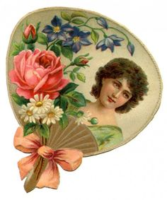 Pretty Victorian Era Woman Framed by a Hand Fan and Flowers - Click for printable artwork