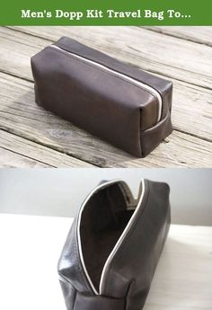 """Men's Dopp Kit Travel Bag Toiletry Bag. This genuine leather toiletry case is 100% handcrafted by me from Horween Tannery's Essex vegetable-tanned leather. Hand-cut, hand-punched, hand-sewn. Made to last as long as you do. This would be the perfect gift for that guy who seems to have everything. You know who I'm talking about. Specs: Height: 4 1/4"""" Length: 10 1/4"""" Width: 4 1/4."""
