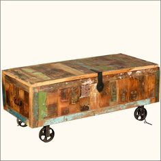 Reclaimed Wood Storage Trunk on Wheels - eclectic - Coffee Tables - Sierra Living Concepts Wood Storage Box, Storage Trunk, Coffee Table With Storage, Table Storage, Modern Rustic Furniture, Reclaimed Wood Furniture, Solid Wood Furniture, Eclectic Coffee Tables, Trunks And Chests