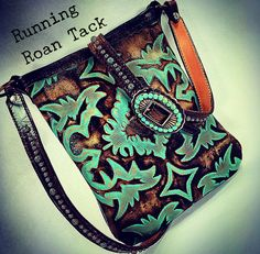 Turquoise Boot Top Cross Body Handbag with Copper Patina Dots and Turquoise Navajo Buckle by Running Roan Tack