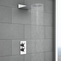 Cruze Round Shower Package with Concealed Valve & Flat Fixed Shower Head Open Showers, Fixed Shower Head, Wood Plank Flooring, Shower Valve, Marble Mosaic, White Doors, Modern Traditional, Modern Colors, Chrome Plating