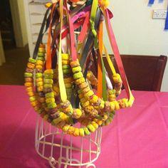 Birthday party fruit loop necklaces.