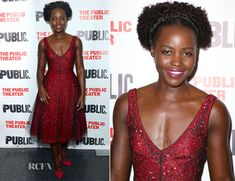 Lupita Nyong'o attended the opening night celebration for 'Eclipsed' at the Public Theatre on Wednesday (October 14) in New York City. The actress wore a r