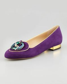 WANT IT NOW!!! Birthday Pisces Zodiac Suede Smoking Slipper, by Charlotte Olympia at Neiman Marcus.