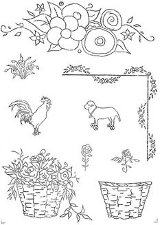 motifs unknown dated 1922 a | love to sew via Flickr ...... Love the flower basket!