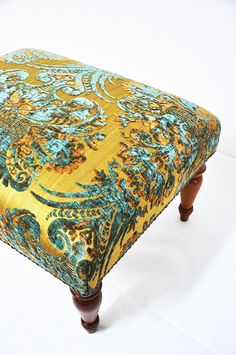 What if my ottoman was a fabric but my chair was leather like Rob's? Aqua and Yellow ~ Classic ottoman with damask fabric. Take A Seat, Mellow Yellow, My Living Room, Home Accents, Decoration, Damask, Classic Style, Upholstery, Textiles