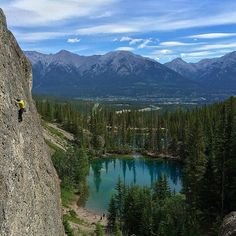 Grassi Lake trail in Canmore, Alberta, Canada. This is a popular hike and a very popular area for sport climbers. The trail leads to two small turquoise blue lakes.