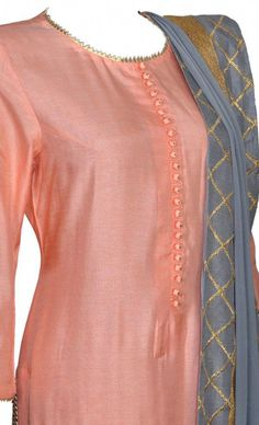 Peach Grey Palazzo Suit WomendressesIndian is part of Punjabi suit neck designs - Punjabi Suit Neck Designs, Kurta Neck Design, Neck Designs For Suits, Dress Neck Designs, Designs For Dresses, Blouse Designs, Chudi Neck Designs, Simple Kurta Designs, Silk Kurti Designs