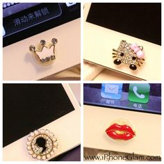 Fabulous, simple with a touch of GLAM! Strong adhesive, sticks on the home button of your iPhone 4/4S, iPhone 5, iTouch and iPad.