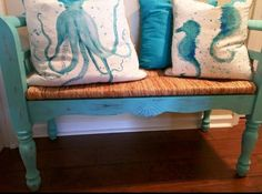 "Isn't this bench gorgeous? Lenee S. used Vintage Furniture Paint™ ""Island Blue"" for this transformation! Furniture, Throw Pillows, Painted Furniture, Throw Blanket, Paint Designs, Blue Island, Pillows, Vintage Furniture, Vintage"