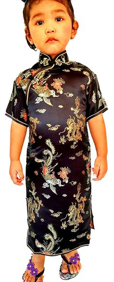 Little Girls'Chinese Geisha Qipao Dress With Dragon Costume And Cosplay 2 Black ** For more information, visit image link.