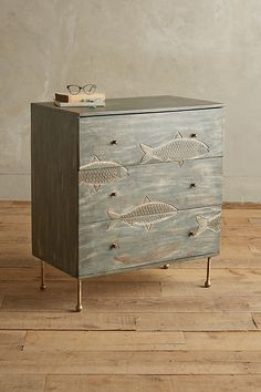 Handcarved Streamlet Three-Drawer Dresser - Jonah would love this