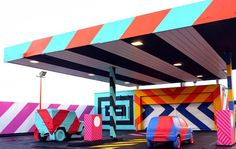 Urban Art Project Transforms a Derelict Gas Station into a Colorful Installation | Junkculture