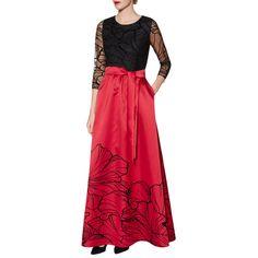 BuyGina Bacconi Esther Dress, Black/Red, 10 Online at johnlewis.com