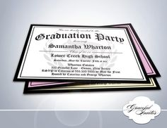 Certificate To Party  Graduation Invitation  DIY by Gracefulnvites, $15.00