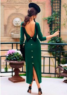 Wholesale Back Single-Breasted Backless Solid Midi Dress from China to Japan Elegant Maxi Dress, Sexy Maxi Dress, Lovely Dresses, Classy Dress, Classy Outfits, The Dress, Bodycon Dress, Vestidos Vintage, Vintage Dresses