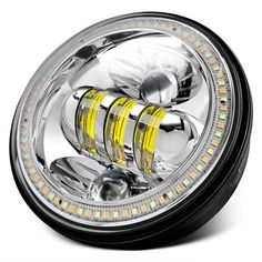 """Lumen® - Chevy Chevelle 1964 5 3/4"""" Round High/Low Beam Chrome Projector LED Headlights with Switchback Halo Sealed Beam Headlights, Projector Headlights, Led Projector, Halogen Headlights, Chevy Chevelle, Beams, High Low, Chrome, Car"""