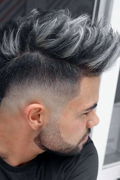 The spiky hairstyles of today are tender,we've prepared some modern ideas of spiked hair, here are the most stylish spiky hair tips for guys. Fade Haircut Styles, Hair And Beard Styles, Short Hair Styles, Hairstyles Haircuts, Cool Hairstyles, Barber Hairstyles, Hairstyles Pictures, Dyed Hair Men, Gents Hair Style