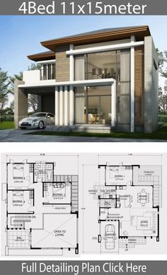 Home Design With 4 Bedrooms - Modern Architecture 2 Storey House Design, Duplex House Plans, Bungalow House Design, 4 Bedroom House Plans, Small House Design, Dream House Plans, Modern House Design, House Floor Plans, Modern Architecture House