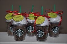 Stop into your local Starbucks and ask the Barista for a clean cup and lid. Fill the cup with brown paper, slip a gift card inside and top with white paper. Add a gift tag and you've got a personalized gift! #StarbucksHack
