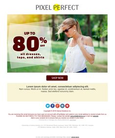 """""""Pixel Perfect"""" Responsive Email design template - Exclusive Canvas template for email marketing - editable - No html skill required - No Photoshop needed Email Template Design, Email Design, Responsive Email, Ecommerce, Email Marketing Design, No Photoshop, Newsletter Templates, Cool Websites, Shirt Shop"""