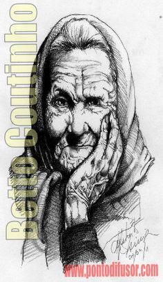 Mulher idosa - estudo de textura - lápís 6B