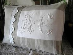 check the site for wonderful items, so much inspiration! you'll be amazed, I promise! lovely, lovely, lovely ~t~ Sewing Pillows, Diy Pillows, Linen Pillows, Decorative Pillows, Cushions, Throw Pillows, Decoration Shabby, Monogram Pillows, Embroidery Monogram