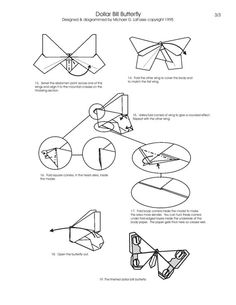 Free Folding Diagram: Butterfly Money Origami Part 3 of 3 - Instructions