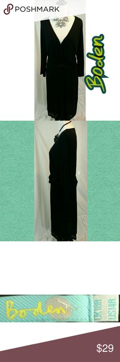 BODEN Deep-V Black Dress WARDROBE STAPLE!!! This light and airy black dress with Deep-V neckline features long sleeves and overlapping fabric at the waist for a more flattering look on the fuller figure. Perfect for all season wear, even summer months, as it's material is not heavy. Can be dressed up with a statement necklace and strappy heels or dressed down with more casual jewelry and shoes. This is a size 14 but also comfortably fits a size 16. Boden Dresses Long Sleeve