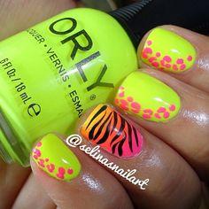 Bring animal print nails ahhhh so pretty! Neon Nails, Love Nails, How To Do Nails, Bright Nails, Orly Nails, Zebra Nails, Chic Nails, Color Nails, Pink Nails