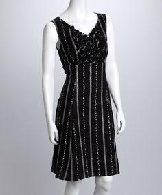 Take a look at this Black Stripe V-Neck Dress - Women by Rabbit Rabbit Rabbit Designs on #zulily today!