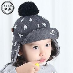 9052fd2be80cc0 2016 Stars Warm Winter Baseball Cap Boys Girls Brand Pompoms Snapback Bone  Baseball Kids Winter Hats Ear Flaps-in Hats   Caps from Mother   Kids on ...