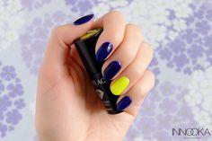 Semilac Blue Ink + Canary Green - Innooka o modzie i urodzie Manicure, Nails, Ink, Green, Blue, Beauty, Nail Bar, Finger Nails, Ongles