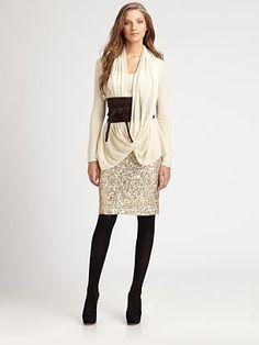 Josie Natori - Lace/Sequin Skirt - Saks.com gold glitter skirt