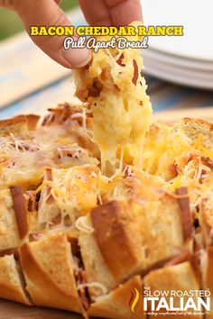 Bacon Cheddar Ranch Pull Apart Bread Recipe ~ Bacon. Cheddar. Ranch.... This is dangerously good. Bacon Cheddar Ranch Pull Apart Bread is insanely addictively delish!
