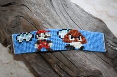 Mario & Goomba loom beaded bracelet Geek Nerdy sprite pixel cartoon-made to order Loom Bracelet Patterns, Bead Loom Patterns, Loom Bracelets, Beading Patterns, Resin Jewelry, Beaded Jewelry, Jewellery, Cool Friendship Bracelets, Metal Spring