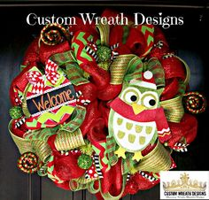 Welcome Owl Christmas Wreath by lilmaddydesigns on Etsy, $115.00